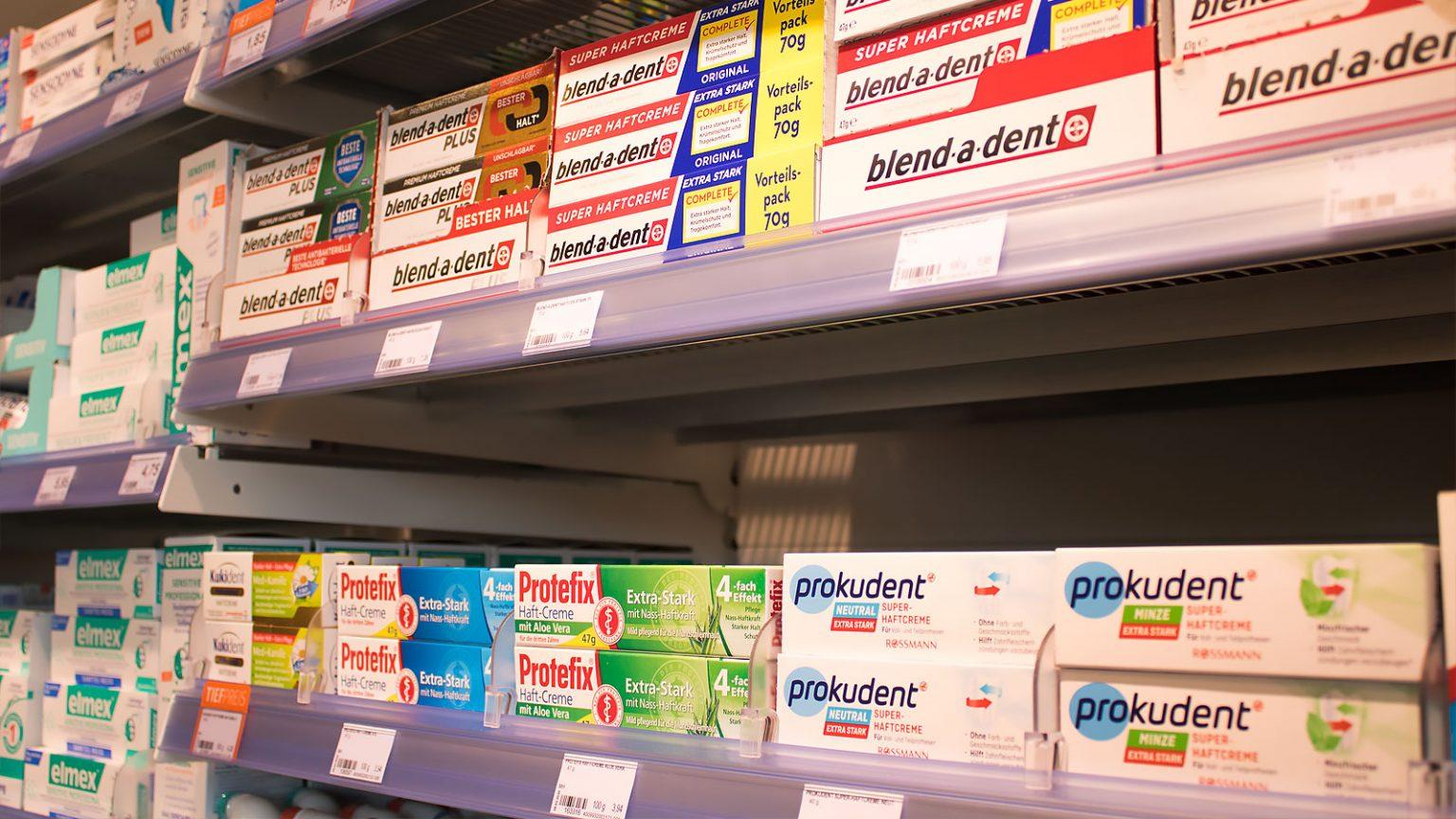 真正的德国牙膏,在德国超市买得到的牙膏,prokudent必固登洁在德国ROSSMANN实拍货架照片